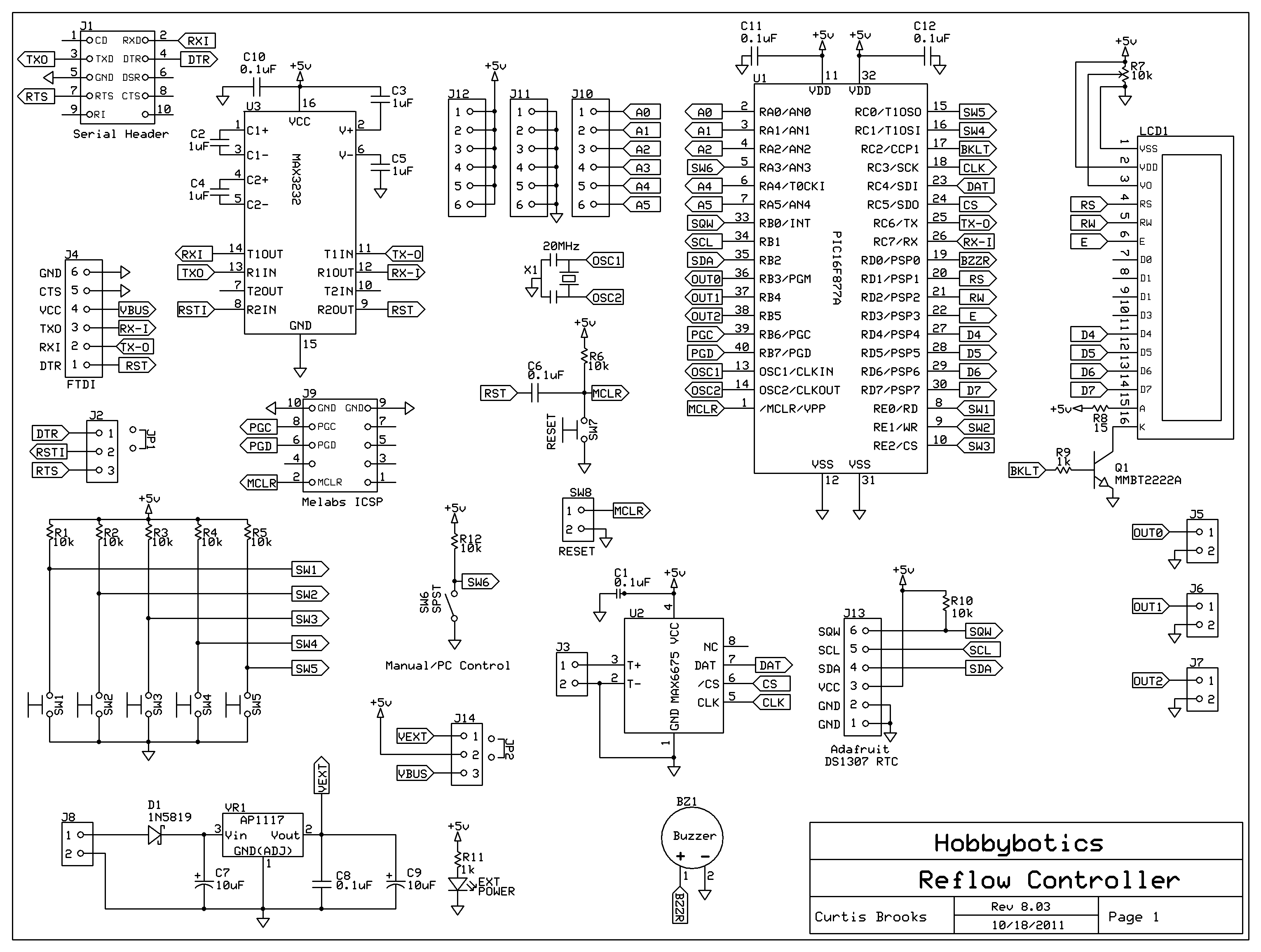 Hobbybotics Reflow Controller V803 Schematic Circuits For The Hobbyist Pdf Electronics Circuit